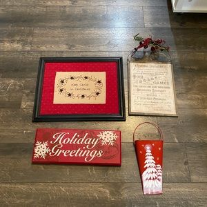 Lot of 4 Holiday Wall Hangings
